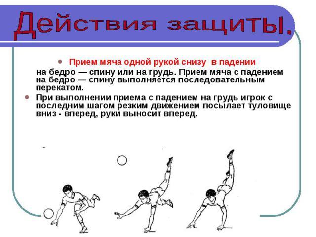 Прием мяча одной рукой снизу в падении на бедро — спину или на грудь. Прием мяча с падением на бедро — спину выполняется последовательным перекатом.При выполнении приема с падением на грудь игрок с последним шагом резким движением посылает туловище …