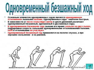 Основным элементом одновременных ходов является одновременное отталкивание лыжны