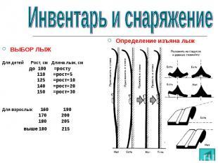 ВЫБОР ЛЫЖДля детей Рост, см Длина лыж, см до 100 =росту 110 =рост+5 125 =рост+10
