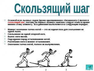 Основой всех лыжных ходов (кроме одновременное «бесшажного») является скользящий