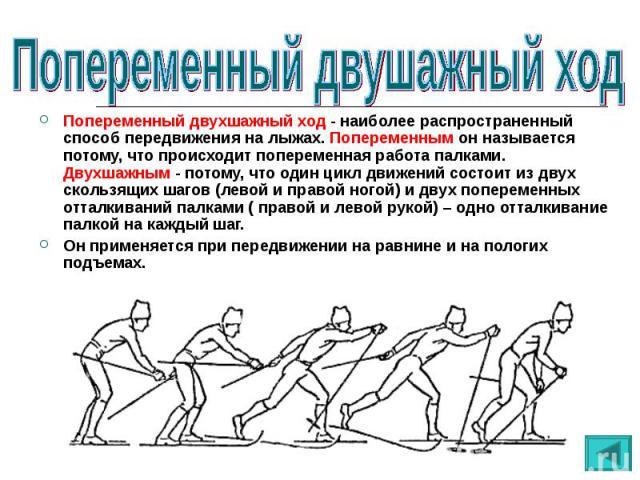 Попеременный двухшажный ход - наиболее распространенный способ передвижения на лыжах. Попеременным он называется потому, что происходит попеременная работа палками. Двухшажным - потому, что один цикл движений состоит из двух скользящих шагов (левой …