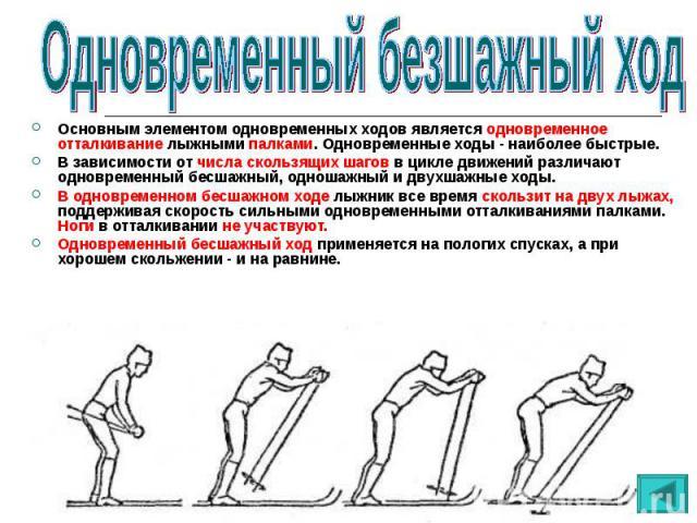 Основным элементом одновременных ходов является одновременное отталкивание лыжными палками. Одновременные ходы - наиболее быстрые.В зависимости от числа скользящих шагов в цикле движений различают одновременный бесшажный, одношажный и двухшажные ход…