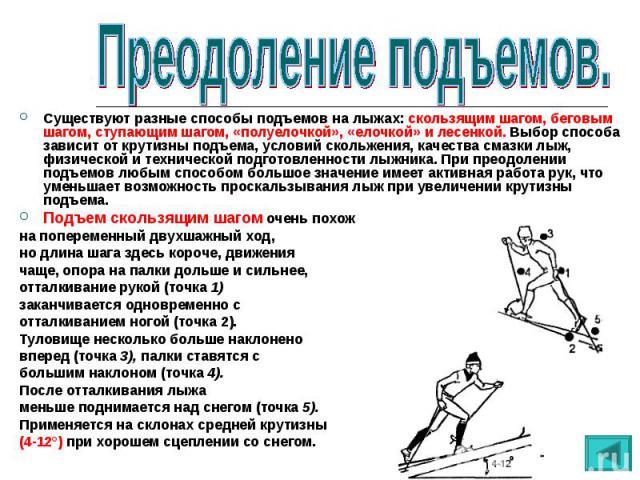 Существуют разные способы подъемов на лыжах: скользящим шагом, беговым шагом, ступающим шагом, «полуелочкой», «елочкой» и лесенкой. Выбор способа зависит от крутизны подъема, условий скольжения, качества смазки лыж, физической и технической подготов…