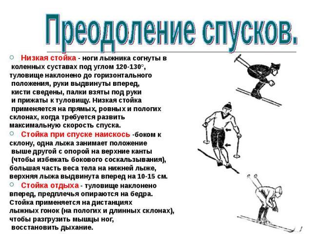 Низкая стойка - ноги лыжника согнуты в коленных суставах под углом 120-130°, туловище наклонено до горизонтального положения, руки выдвинуты вперед, кисти сведены, палки взяты под руки и прижаты к туловищу. Низкая стойка применяется на прямых, ровны…