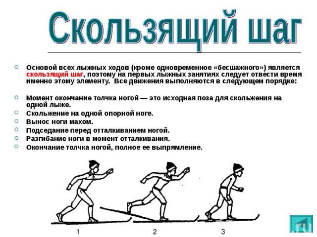 Основой всех лыжных ходов (кроме одновременное «бесшажного») является скользящий шаг, поэтому на первых лыжных занятиях следует отвести время именно этому элементу. Все движения выполняются в следующем порядке:Момент окончание толчка ногой — это исх…