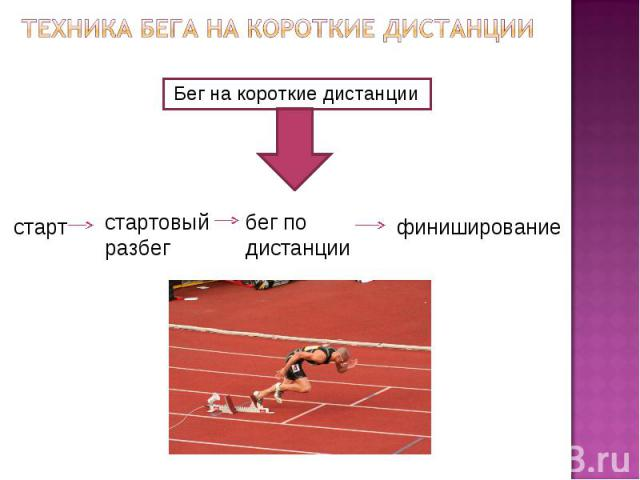 Техника бега на короткие дистанцииБег на короткие дистанции