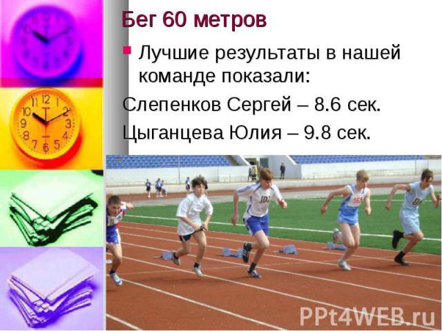 Бег 60 метровЛучшие результаты в нашей команде показали:Слепенков Сергей – 8.6 сек.Цыганцева Юлия – 9.8 сек.