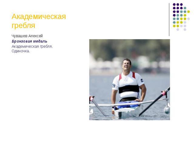 Академическая гребляЧувашев АлексейБронзовая медальАкадемическая гребля. Одиночка.