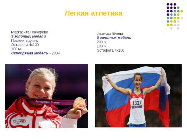 Легкая атлетикаМаргарита Гончарова3 золотых медали:Прыжки в длинуЭстафета 4х100100 м.Серебряная медаль – 200м