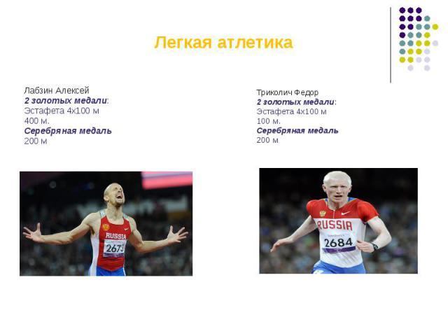 Легкая атлетикаЛабзин Алексей2 золотых медали:Эстафета 4х100 м400 м.Серебряная медаль200 м