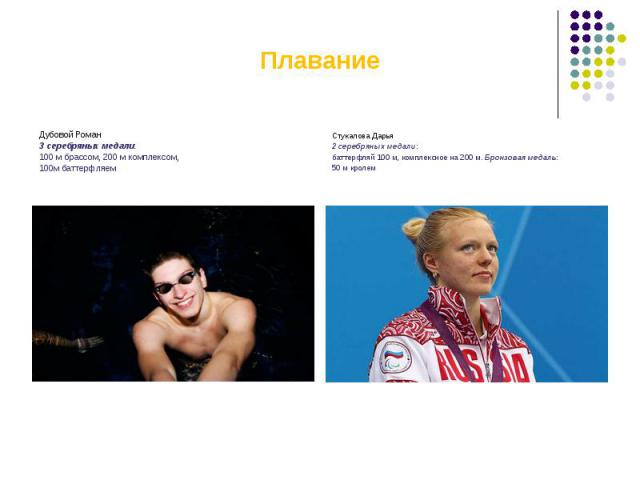 ПлаваниеДубовой Роман3 серебряных медали: 100 м брассом, 200 м комплексом,100м баттерфляем