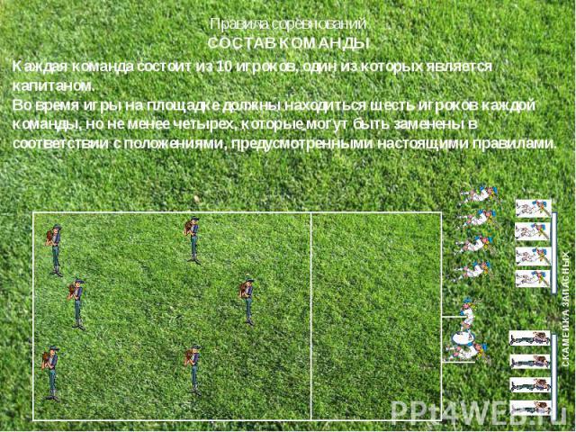 Каждая команда состоит из 10 игроков, один из которых является капитаном.Во время игры на площадке должны находиться шесть игроков каждой команды, но не менее четырех, которые могут быть заменены в соответствии с положениями, предусмотренными настоя…