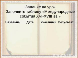 Задание на урокЗаполните таблицу «Международные события XVI-XVIII вв.»