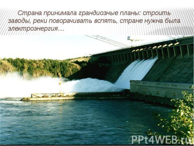 Страна принимала грандиозные планы: строить заводы, реки поворачивать вспять, стране нужна была электроэнергия…