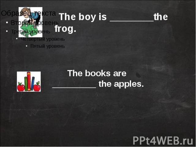 The boy is ________the frog.