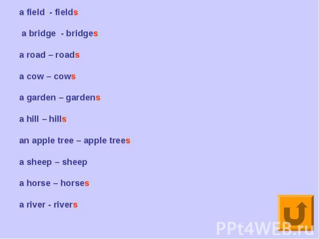 a field - fields a bridge - bridgesa road – roadsa cow – cowsa garden – gardensa hill – hillsan apple tree – apple treesa sheep – sheepa horse – horsesa river - rivers