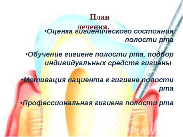 Оценка гигиенического состояния полости ртаОбучение гигиене полости рта, подбор индивидуальных средств гигиены Мотивация пациента к гигиене полости ртаПрофессиональная гигиена полости рта