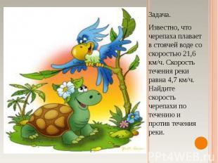 Задача.Известно, что черепаха плавает в стоячей воде со скоростью 21,6 км/ч. Ско
