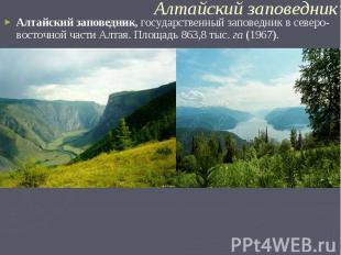 Алтайский заповедник,государственный заповедник в северо-восточной части Алтая.