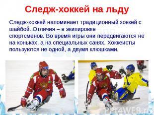 Следж-хоккей на льдуСледж-хоккей напоминает традиционный хоккей с шайбой. Отличи