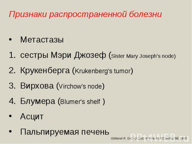 Признаки распространенной болезниМетастазысестры Мэри Джозеф (Sister Mary Joseph's node) Крукенберга (Krukenberg's tumor)Вирхова (Virchow's node)Блумера (Blumer's shelf )АсцитПальпируемая печень