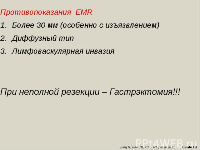 Противопоказания EMRБолее 30 мм (особенно с изъязвлением) Диффузный типЛимфоваскулярная инвазияПри неполной резекции – Гастрэктомия!!!