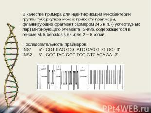 В качестве примера для идентификации микобактерий группы туберкулеза можно приве