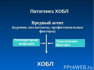 Патогенез ХОБЛВредный агент(курение, поллютанты, профессиональные факторы) ХОБЛ