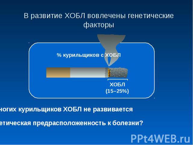 В развитие ХОБЛ вовлечены генетические факторыУ многих курильщиков ХОБЛ не развиваетсяГенетическая предрасположенность к болезни?