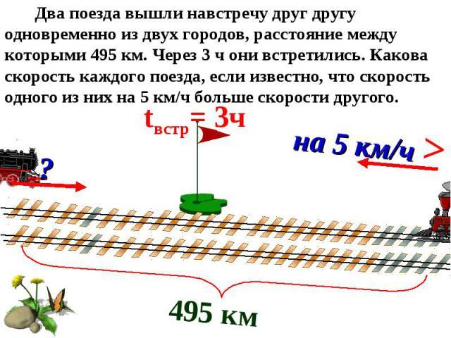 495 км tвстр= 3ч ? на 5 км/ч > Два поезда вышли навстречу друг другу одновременно из двух городов, расстояние между которыми 495 км. Через 3 ч они встретились. Какова скорость каждого поезда, если известно, что скорость одного из них на 5 км/ч больш…