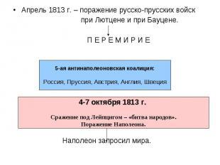 Апрель 1813 г. – поражение русско-прусских войск при Лютцене и при Бауцене. П Е