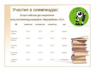 Участие в олимпиадах: Всероссийская дистанционная мультиолимпиада-марафон «Мурав
