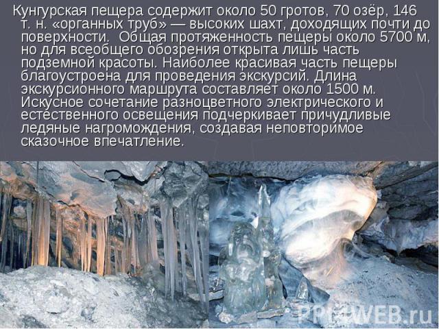 Кунгурская пещера содержит около 50 гротов, 70 озёр, 146 т. н. «органных труб» — высоких шахт, доходящих почти до поверхности. Общая протяженность пещеры около 5700 м, но для всеобщего обозрения открыта лишь часть подземной красоты. Наиболее красива…