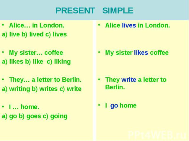 PRESENT SIMPLEAlice… in London.a) live b) lived c) livesMy sister… coffeea) likes b) like c) likingThey… a letter to Berlin. a) writing b) writes c) writeI … home.a) go b) goes c) going