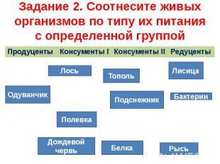 Задание 2. Соотнесите живых организмов по типу их питания с определенной группой