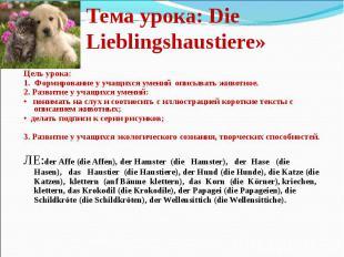 Тема урока: Die Lieblingshaustiere» Цель урока: 1. Формирование у учащихся умени