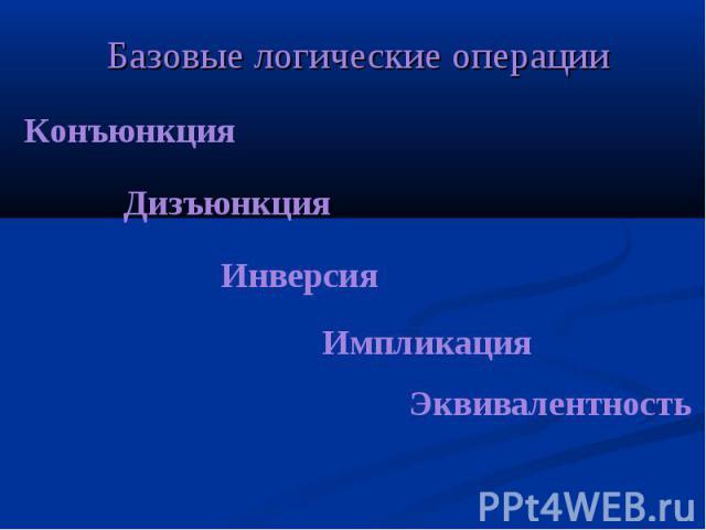 Конъюнкция Дизъюнкция Инверсия Импликация Эквивалентность Базовые логические операции