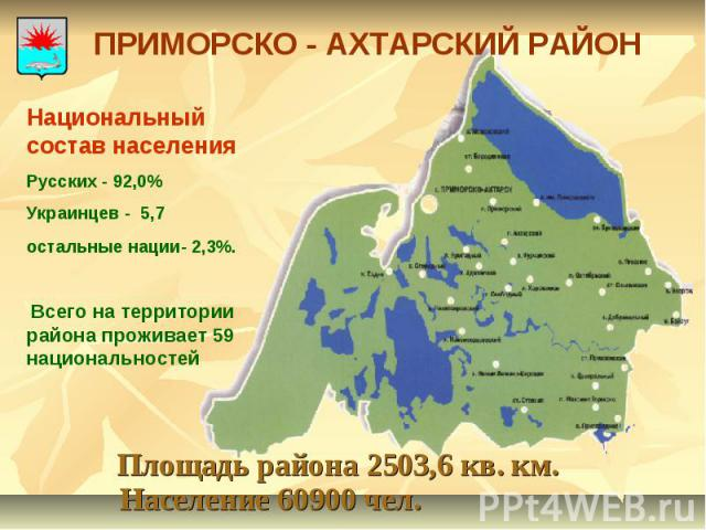 ПРИМОРСКО - АХТАРСКИЙ РАЙОН Национальный состав населения Русских - 92,0% Украинцев - 5,7 остальные нации- 2,3%. Всего на территории района проживает 59 национальностей Площадь района 2503,6 кв. км. Население 60900 чел.