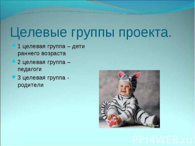 Целевые группы проекта.1 целевая группа – дети раннего возраста2 целевая группа – педагоги3 целевая группа - родители