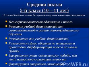 Средняя школа 5-й класс (10—11 лет) Психофизиологическая адаптация к школе: Разв