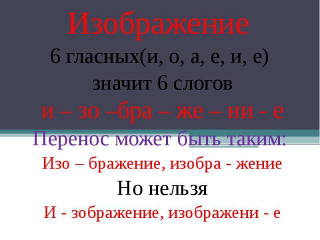 Изображение 6 гласных(и, о, а, е, и, е) значит 6 слогов и – зо –бра – же – ни - е Перенос может быть таким: Изо – бражение, изобра - жение Но нельзя И - зображение, изображени - е