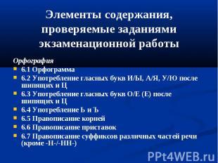 Элементы содержания,проверяемые заданиями экзаменационной работыОрфография6.1 Ор