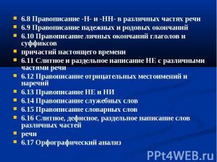 6.8 Правописание -Н- и -НН- в различных частях речи6.8 Правописание -Н- и -НН- в