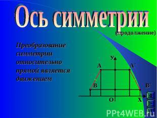 (продолжение) Преобразование симметрии относительно прямой является движением А`