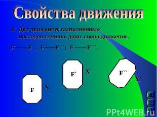 Два движения, выполненные последовательно, дают снова движение. F F `; F ` F ``;