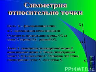 Пусть О – фиксированная точка и Х –произвольная точка плоскости Отложим на продо