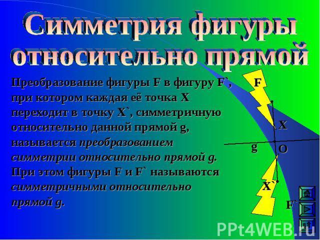 Преобразование фигуры F в фигуру F`, при котором каждая её точка Х переходит в точку Х`, симметричную относительно данной прямой g, называется преобразованием симметрии относительно прямой g. При этом фигуры F и F` называются симметричными относител…