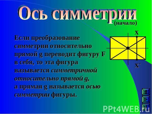 (начало) Если преобразование симметрии относительно прямой g переводит фигуру F в себя, то эта фигура называется симметричной относительно прямой g, а прямая g называется осью симметрии фигуры. Х Х`