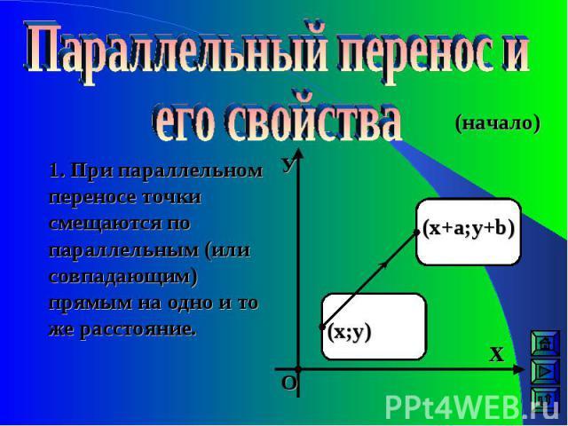1. При параллельном переносе точки смещаются по параллельным (или совпадающим) прямым на одно и то же расстояние. (х;у) (х+а;у+b) У Х О (начало)
