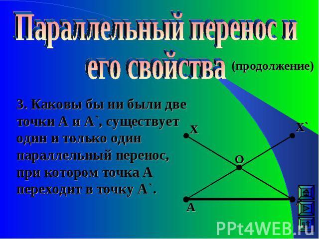 (продолжение) 3. Каковы бы ни были две точки А и А`, существует один и только один параллельный перенос, при котором точка А переходит в точку A`. Х Х` А А` О